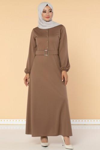 Modaebva - Önden Düğmeli Kemerli Elbise-3047 Vizon