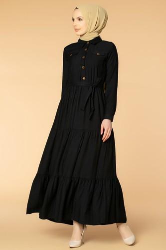 Modaebva - Önden Düğmeli Kemerli Tesettür Elbise-032 Siyah
