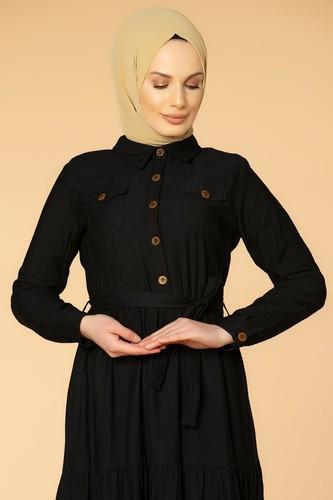 Modaebva - Önden Düğmeli Kemerli Tesettür Elbise-032 Siyah (1)