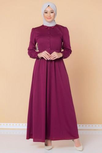 Modaebva - Önden Düğmeli Kemerli Tesettür Elbise-3002 Şarabi