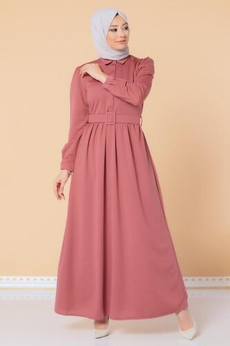 Modaebva - Önden Düğmeli Kemerli Tesettür Elbise-3002 Gülkurusu