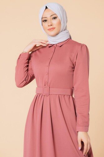 Modaebva - Önden Düğmeli Kemerli Tesettür Elbise-3002 Gülkurusu (1)