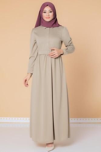 Modaebva - Önden Düğmeli Kemerli Tesettür Elbise-3002 Latte