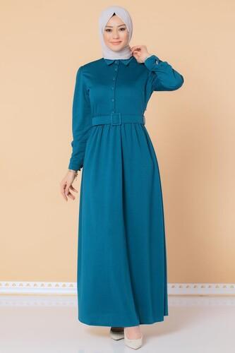 Modaebva - Önden Düğmeli Kemerli Tesettür Elbise-3002 Petrol