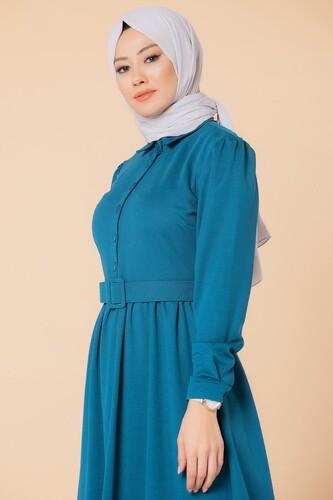 Modaebva - Önden Düğmeli Kemerli Tesettür Elbise-3002 Petrol (1)