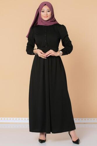 Modaebva - Önden Düğmeli Kemerli Tesettür Elbise-3002 Siyah