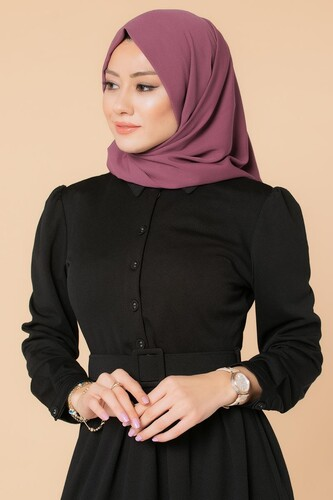 Modaebva - Önden Düğmeli Kemerli Tesettür Elbise-3002 Siyah (1)