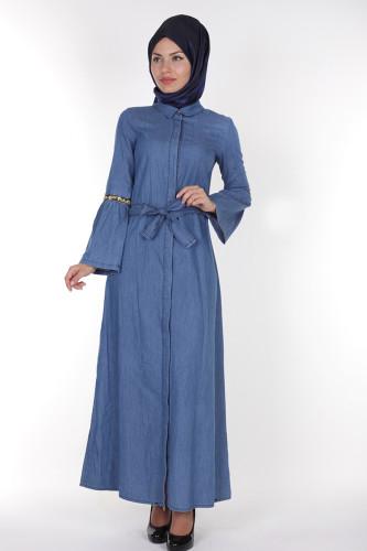 - Önden Düğmeli Kolları Volan Kot Elbise-1230 açık mavi