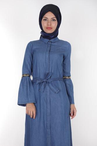 - Önden Düğmeli Kolları Volan Kot Elbise-1230 açık mavi (1)