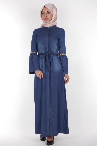 - Önden Düğmeli Kolları Volan Kot Elbise-1230 Koyu Mavi