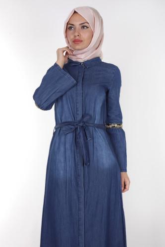- Önden Düğmeli Kolları Volan Kot Elbise-1230 Koyu Mavi (1)