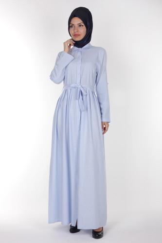 - Önden Düğmeli Pileli Keten Elbise-16246 Mavi