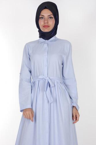 - Önden Düğmeli Pileli Keten Elbise-16246 Mavi (1)