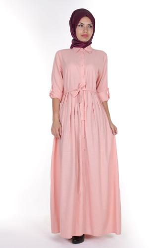 - Önden Düğmeli Pileli Keten Elbise-16246Pudra