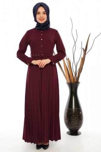 Modaebva - Önden Düğmeli Piliseli Elbise-0645Mürdüm