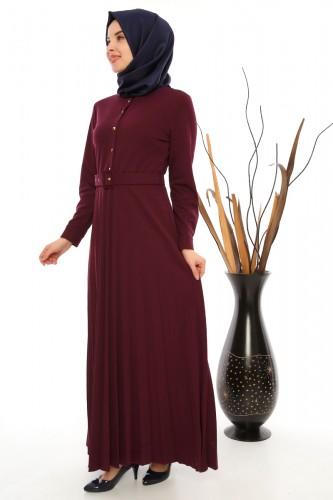 Modaebva - Önden Düğmeli Piliseli Elbise-0645Mürdüm (1)