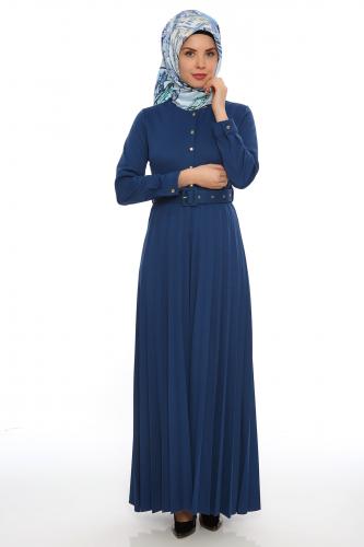 - Önden Düğmeli Piliseli Elbise-İndigo 0645