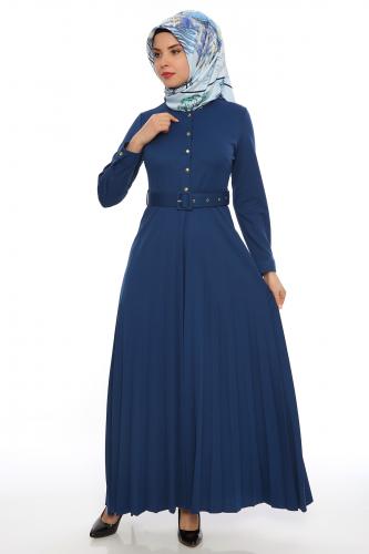 Modaebva - Önden Düğmeli Piliseli Elbise-İndigo 0645 (1)