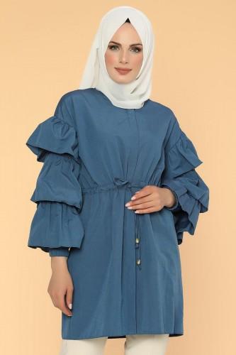 - Önden Gizli Düğmeli Bağcıklı Tunik-2564 Mavi (1)