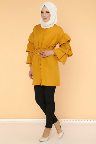 - Önden Gizli Düğmeli Bağcıklı Tunik-2564 Sarı