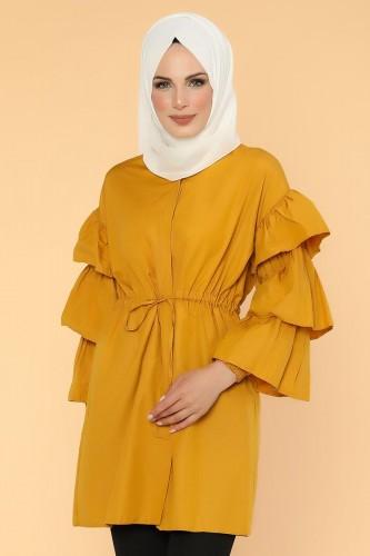 - Önden Gizli Düğmeli Bağcıklı Tunik-2564 Sarı (1)