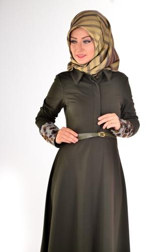 - Önden Gizli Düğmeli Kolları Düğme Detaylı Elbise Haki Yeşili-4040 (1)
