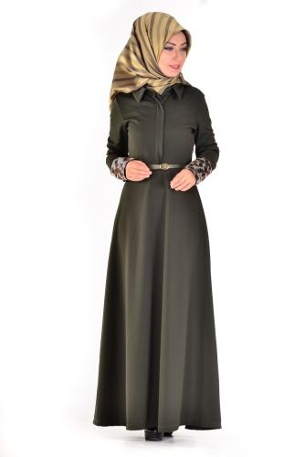 - Önden Gizli Düğmeli Kolları Düğme Detaylı Elbise Haki Yeşili-4040