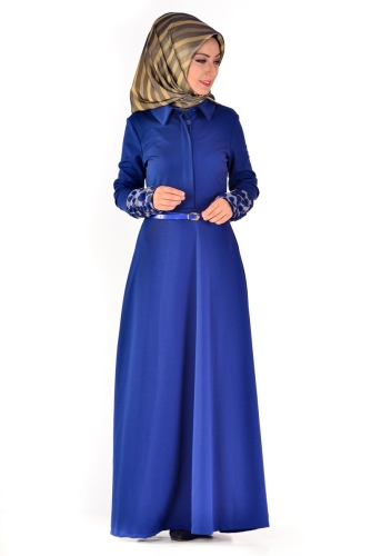 Modaebva - Önden Gizli Düğmeli Kolları Düğme Detaylı Elbise Saks-4040
