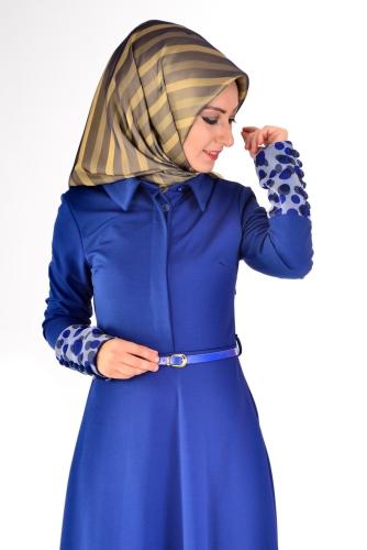 Modaebva - Önden Gizli Düğmeli Kolları Düğme Detaylı Elbise Saks-4040 (1)