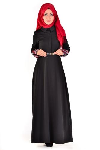 Modaebva - Önden Gizli Düğmeli Kolları Düğme Detaylı Elbise Siyah-4040