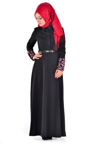 Modaebva - Önden Gizli Düğmeli Kolları Düğme Detaylı Elbise Siyah-4040 (1)