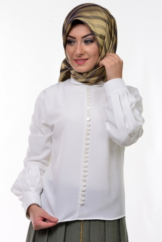 - Önü Sık Düğmeli Gömlek Krem-G11
