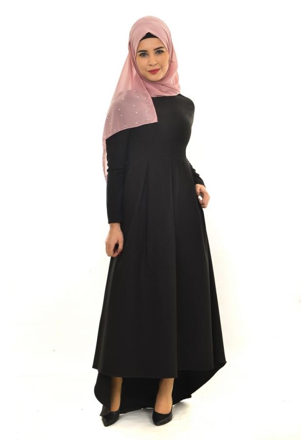 Pileli Asimetrik Elbise Siyah-ZRD1156