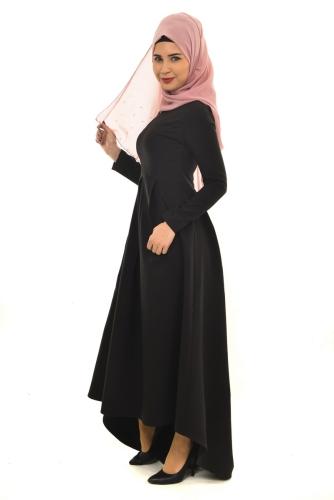Pileli Asimetrik Elbise Siyah-ZRD1156 - Thumbnail