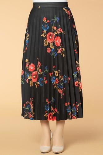 Modaebva - Pileli Çiçek Desenli Bilek Üstü Etek- 8596 Siyah (1)