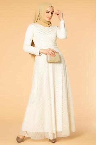 Modaebva - Puantiye Detay Kloş Tesettür Abiye-5006 Beyaz