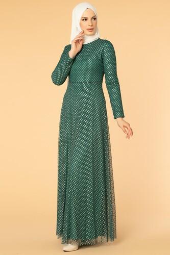 Modaebva - Puantiye Detay Kloş Tesettür Abiye-5006 Zümrüt yeşili