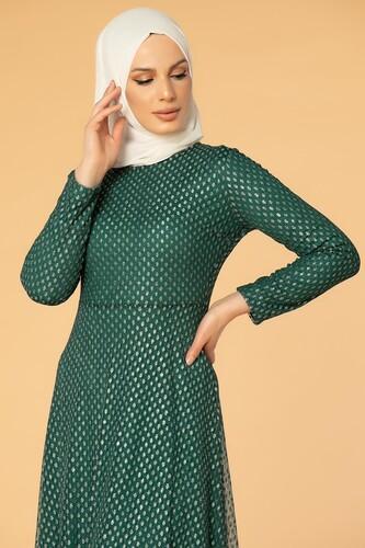 Modaebva - Puantiye Detay Kloş Tesettür Abiye-5006 Zümrüt yeşili (1)