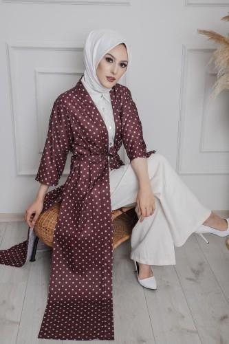 Modaebva - Puantiyeli Kimono-3636 Bordo