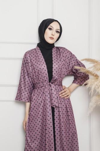 Modaebva - Puantiyeli Kimono-3636 Gülkurusu (1)