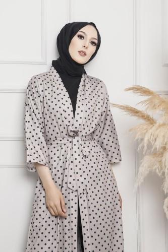 Modaebva - Puantiyeli Kimono-3636 Krem (1)