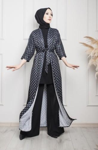 Modaebva - Puantiyeli Kimono-3636 Siyah