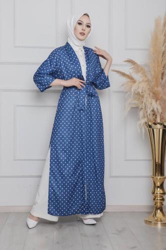 Modaebva - Puantiyeli Kimono-3636Mavi (1)