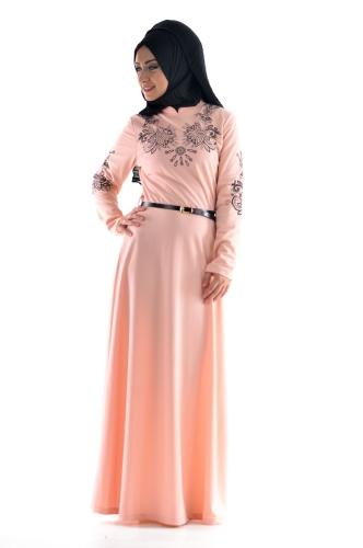 Modaebva - Pudra Kemerli Elbise-3397