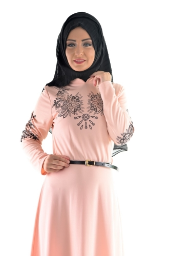 Modaebva - Pudra Kemerli Elbise-3397 (1)