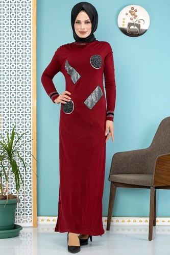 Modaebva - Pul Detay Küçük Yırtmaçlı Triko Elbise-3300 Bordo (1)
