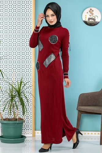 Modaebva - Pul Detay Küçük Yırtmaçlı Triko Elbise-3300 Bordo