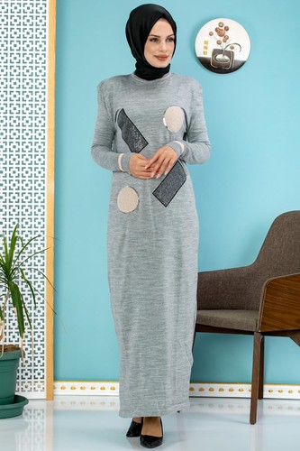 Modaebva - Pul Detay Küçük Yırtmaçlı Triko Elbise-3300 Gri (1)