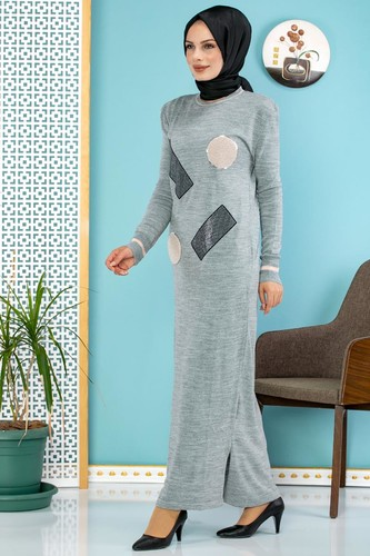 Modaebva - Pul Detay Küçük Yırtmaçlı Triko Elbise-3300 Gri