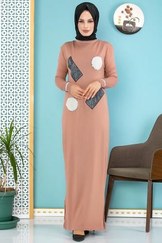 Modaebva - Pul Detay Küçük Yırtmaçlı Triko Elbise-3300 Gülkurusu